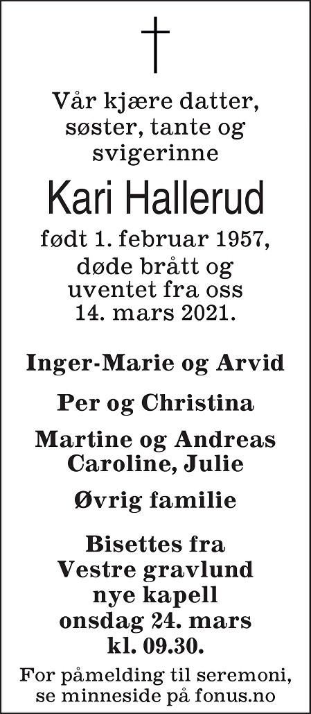 Kari Hallerud Dødsannonse
