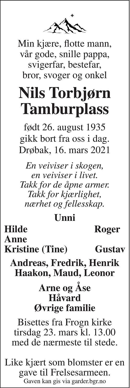Nils Torbjørn Tamburplass Dødsannonse