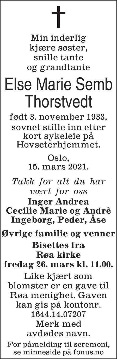 Else Marie Semb Thorstvedt Dødsannonse