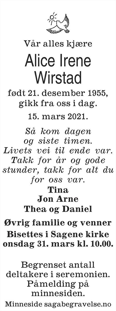 Alice Irene  Wirstad Dødsannonse