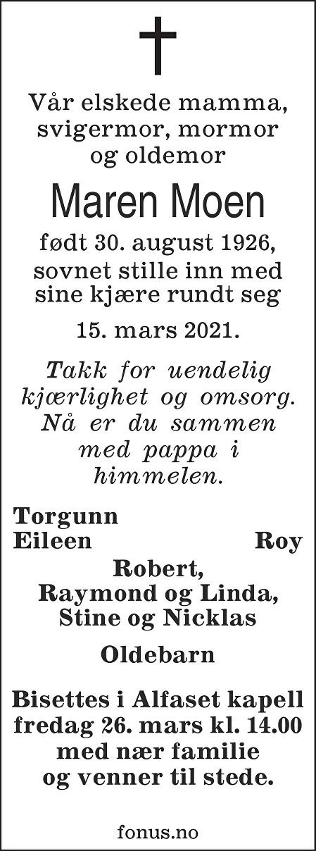 Maren Moen Dødsannonse