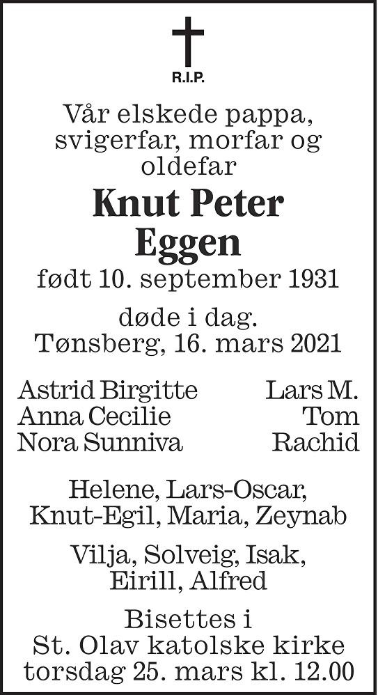 Knut Peter Eggen Dødsannonse