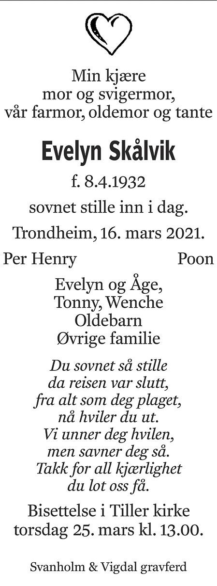 Evelyn  Skålvik Dødsannonse