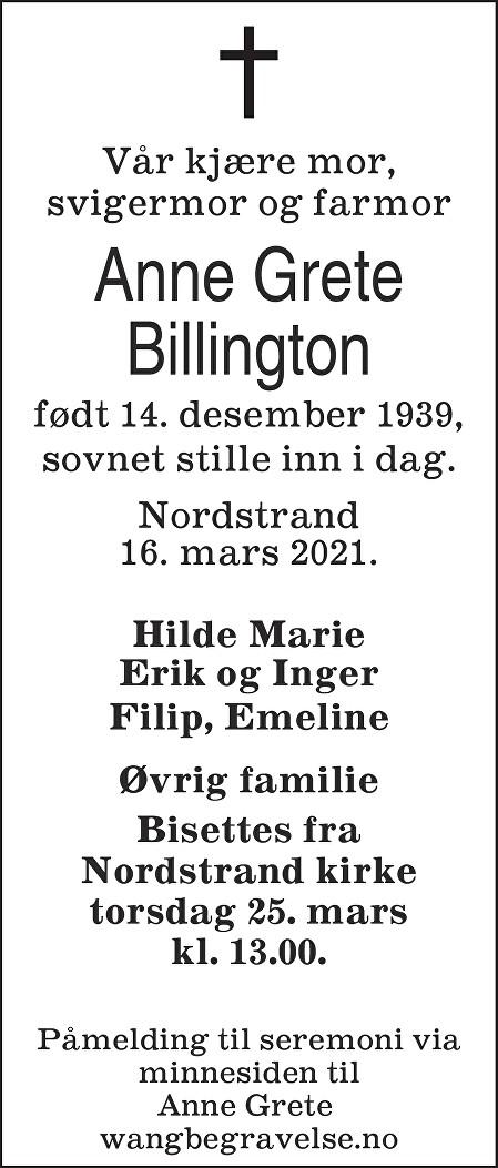 Anne Grete Billington Dødsannonse