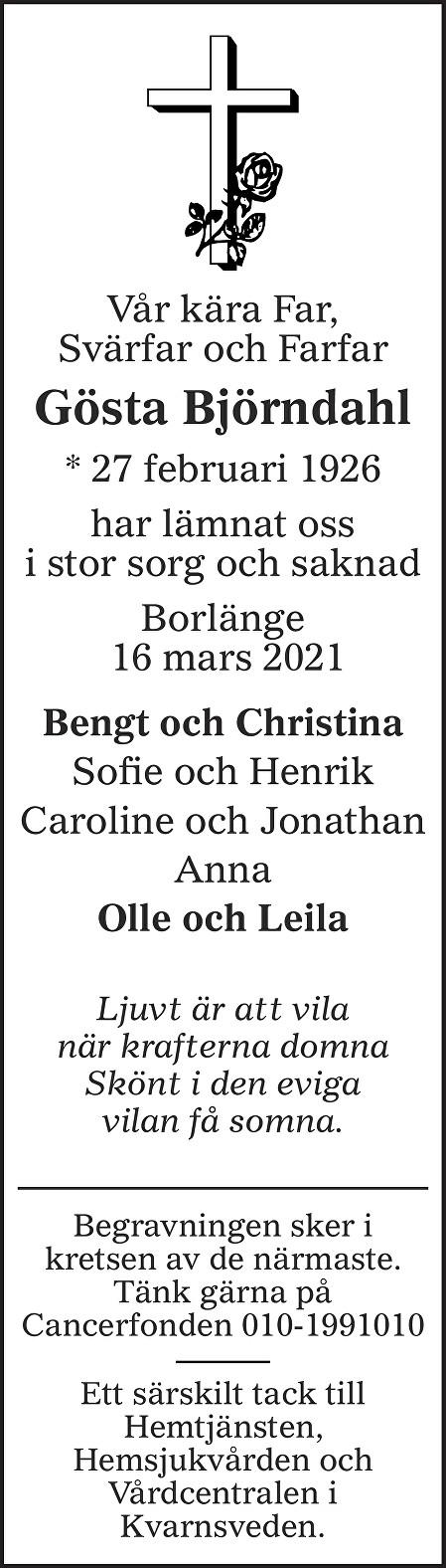 Gösta Björndahl Death notice
