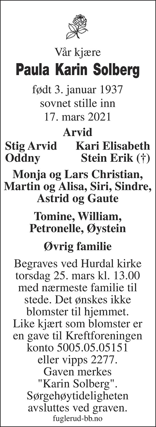 Paula Karin Solberg Dødsannonse