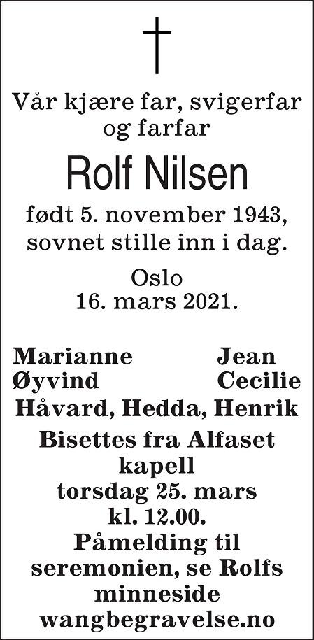 Rolf Nilsen Dødsannonse