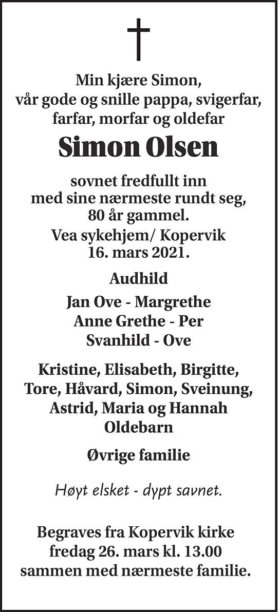 Simon Olsen Dødsannonse