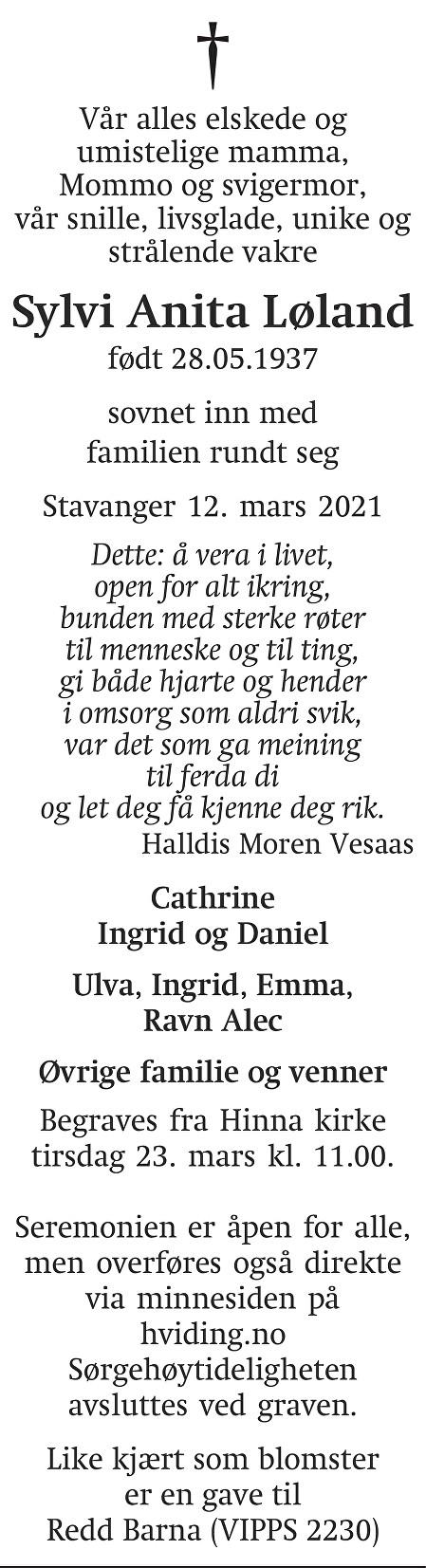 Sylvi Anita Løland Dødsannonse