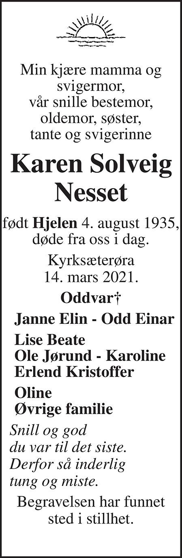 Karen Solveig Nesset Dødsannonse