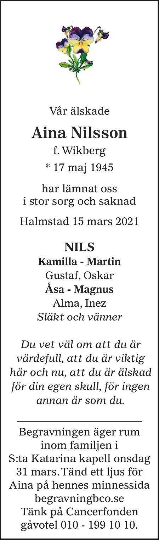 Aina Nilsson Death notice