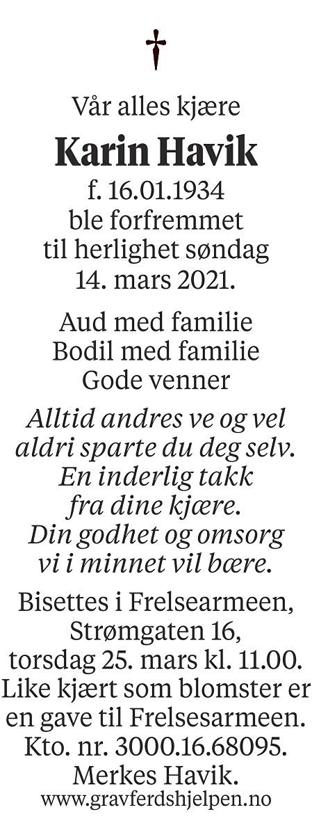 Karin Havik Dødsannonse