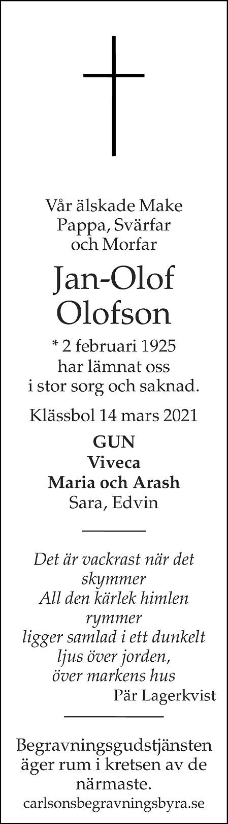 Jan-Olof Olofson Death notice