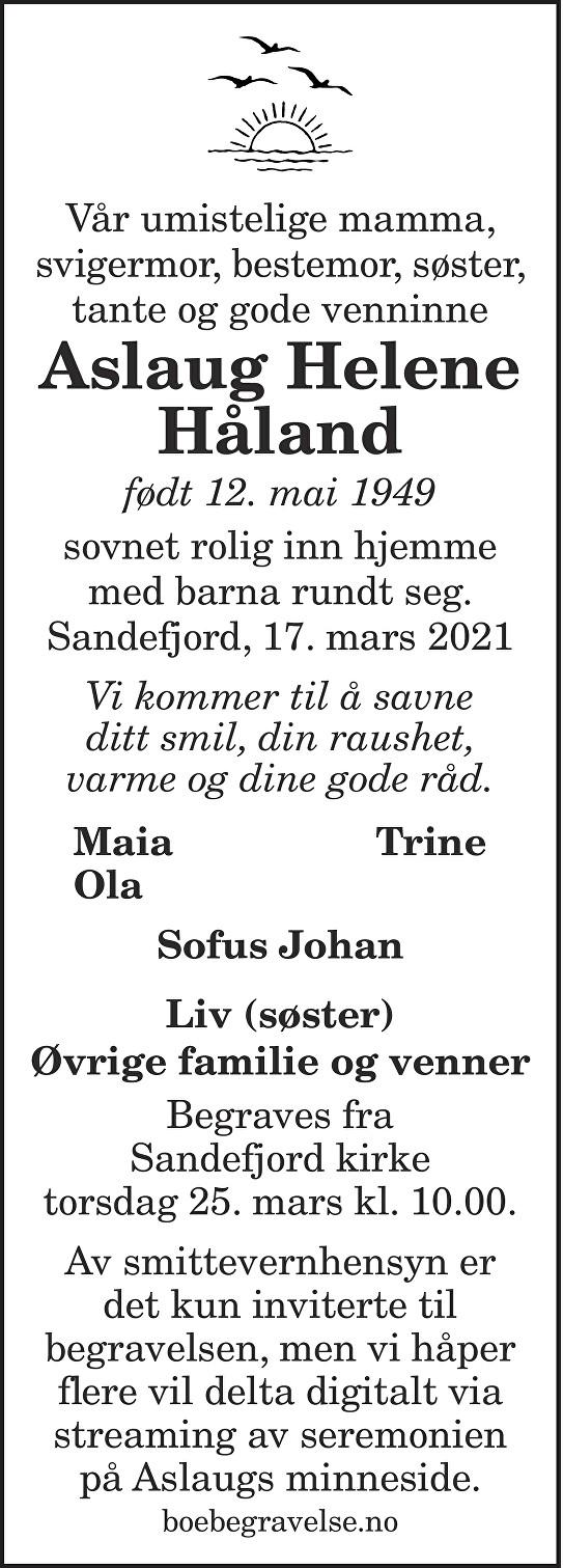 Aslaug Helene Håland Dødsannonse