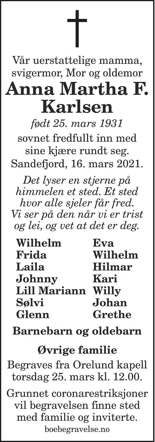 Anna Martha F. Karlsen Dødsannonse