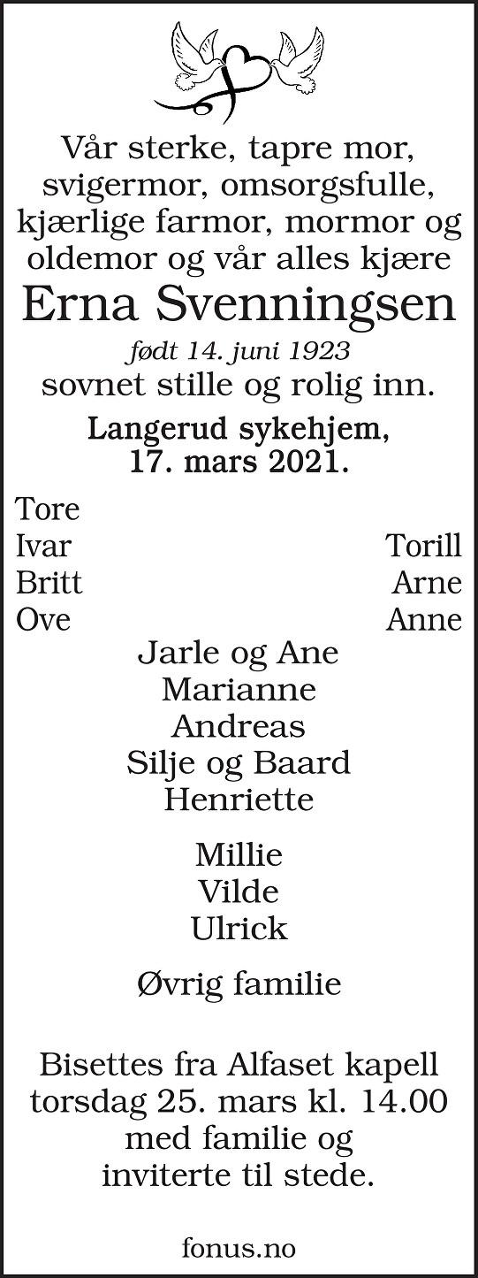 Erna Svenningsen Dødsannonse