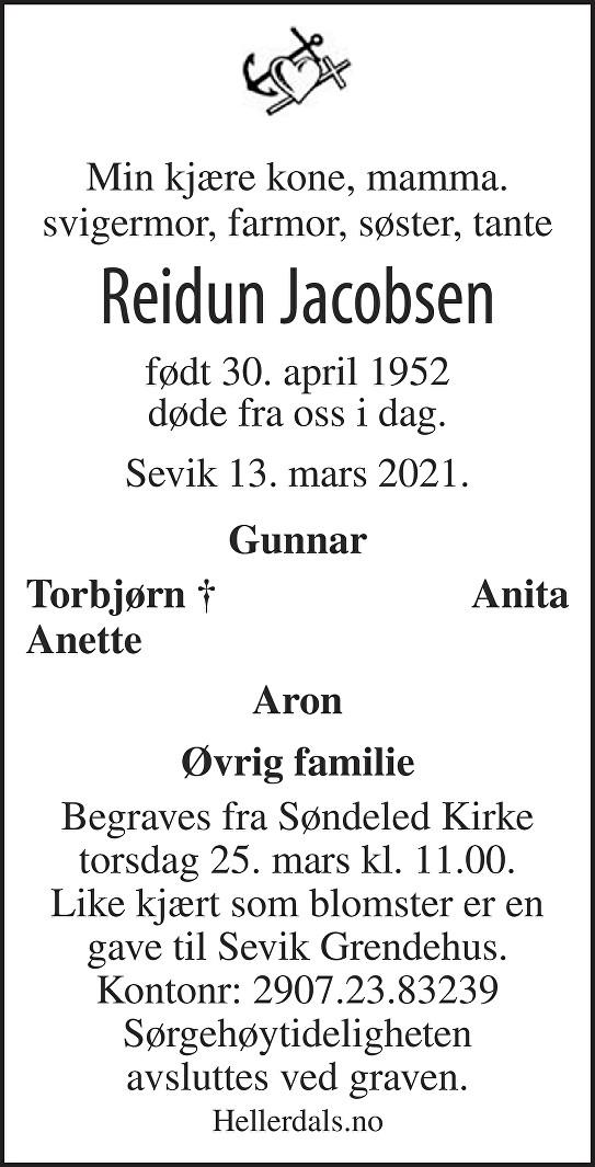 Reidun Jacobsen Dødsannonse