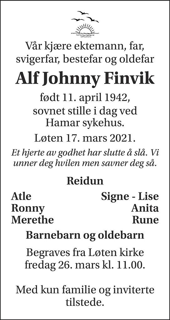 Alf Johnny Finvik Dødsannonse