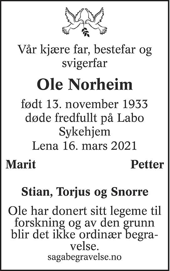 Ole  Norheim Dødsannonse