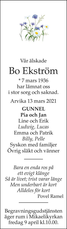 Bo Ekström Death notice