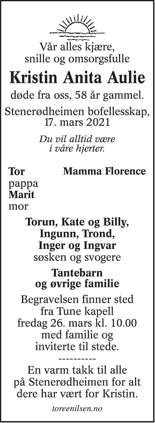 Kristin Anita Aulie Dødsannonse