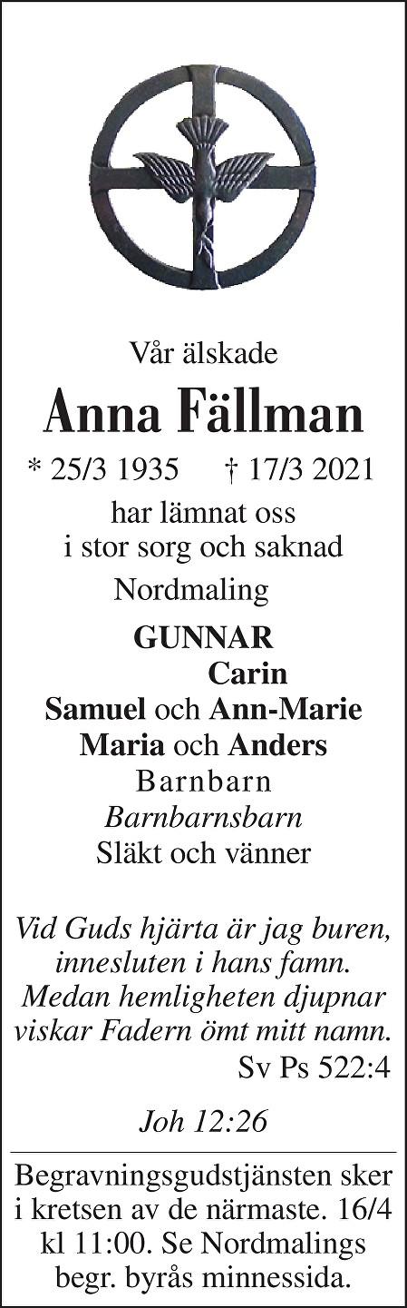 Anna Fällman Death notice