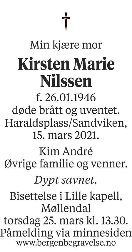 Kirsten Marie Nilssen Dødsannonse