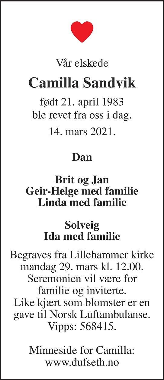 Camilla Sandvik Dødsannonse
