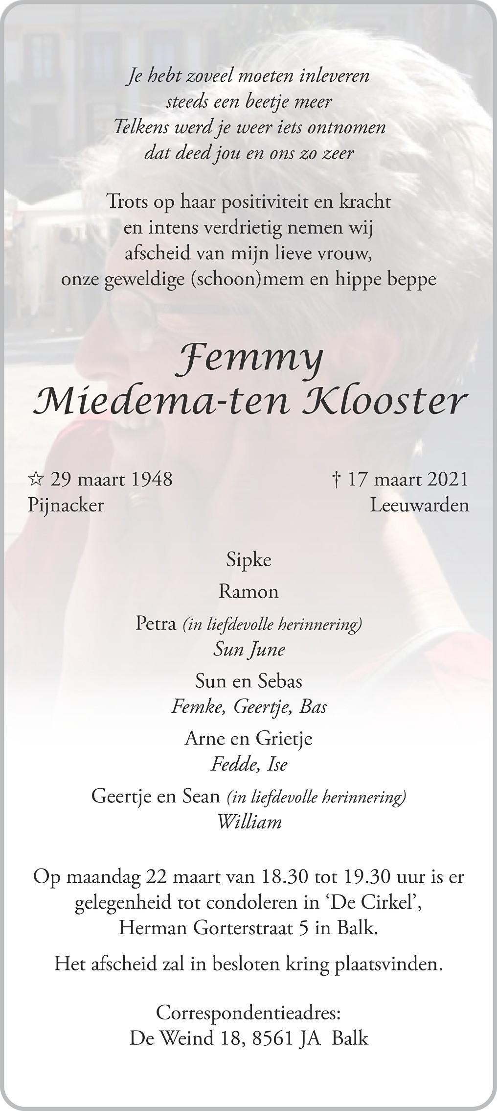 Femmy Miedema-ten Klooster Death notice