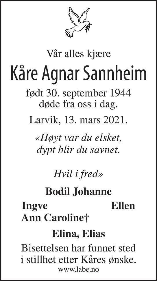 Kåre Agnar Sannheim Dødsannonse