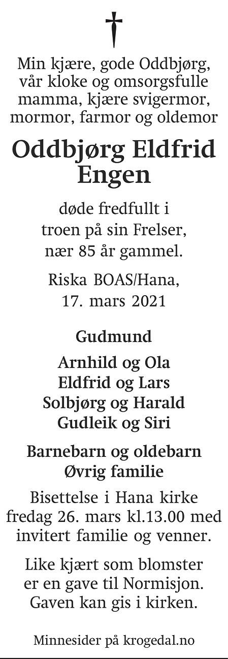 Oddbjørg Eldfrid Engen Dødsannonse
