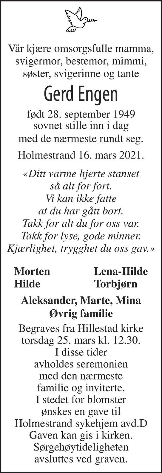 Gerd Engen Dødsannonse