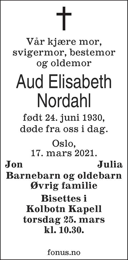 Aud Elisabeth Nordahl Dødsannonse