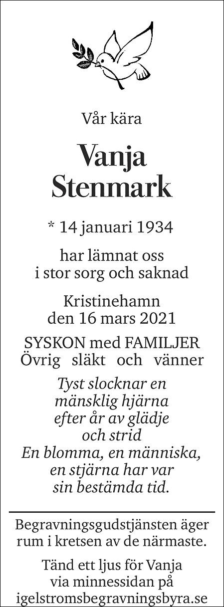 Vanja Stenmark Death notice