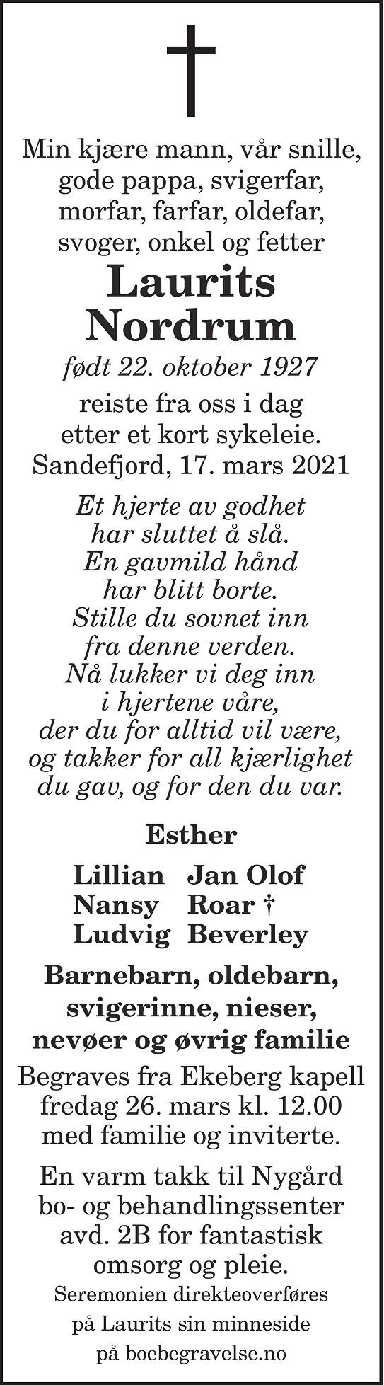 Laurits Nordrum Dødsannonse