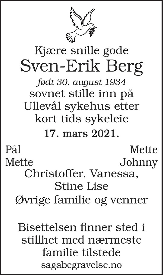 Sven-Erik Berg Dødsannonse