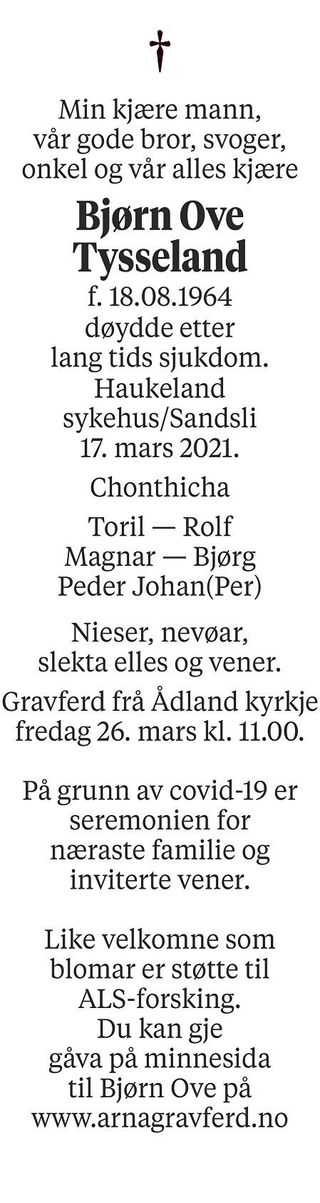 Bjørn Ove Tysseland Dødsannonse