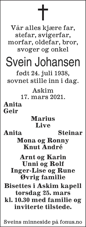 Svein Johansen Dødsannonse