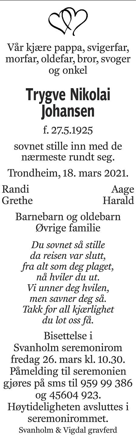 Trygve Nikolai Johansen Dødsannonse