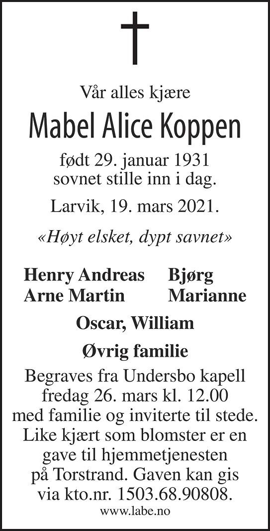 Mabel Alice Koppen Dødsannonse