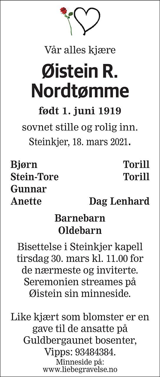 Øistein R. Nordtømme Dødsannonse