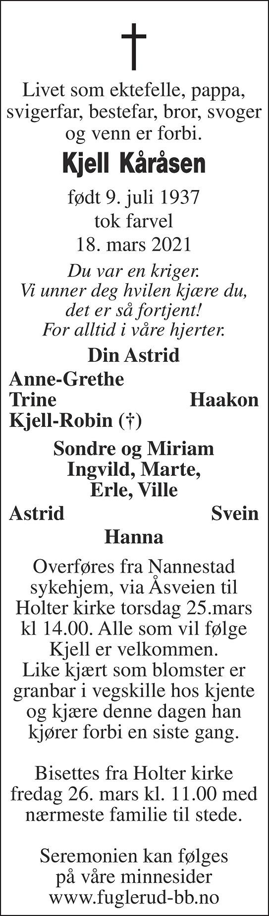 Kjell Kåråsen Dødsannonse