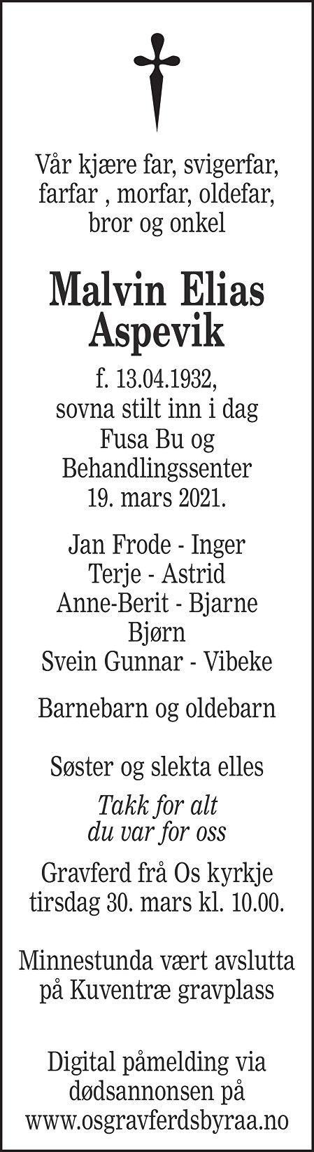 Malvin Elias Aspevik Dødsannonse