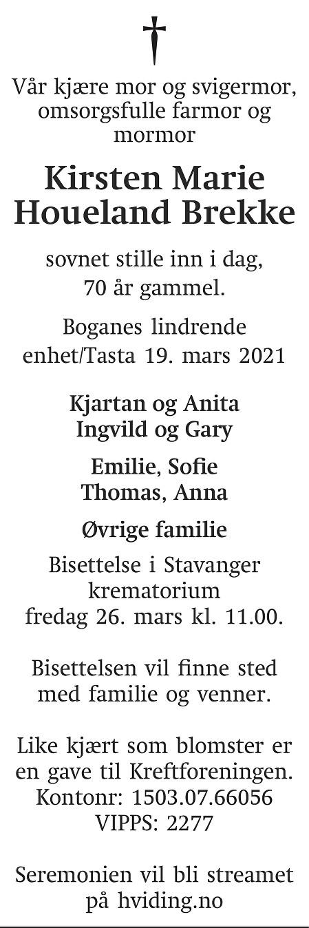 Kirsten Marie Houeland Brekke Dødsannonse