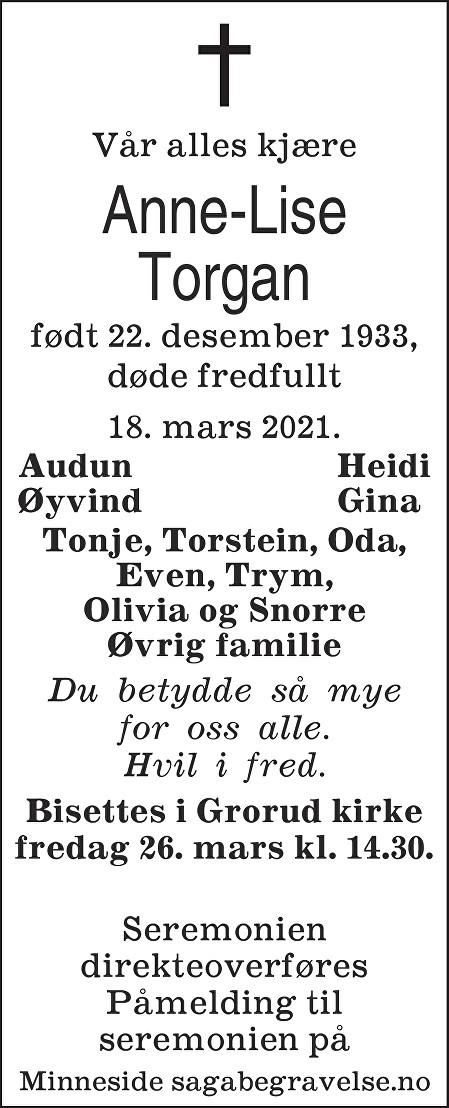 Anne-Lise Torgan Dødsannonse