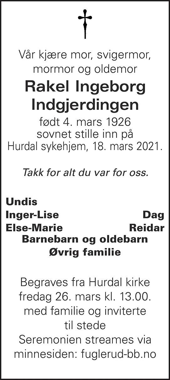 Rakel Ingeborg Indgjerdingen Dødsannonse