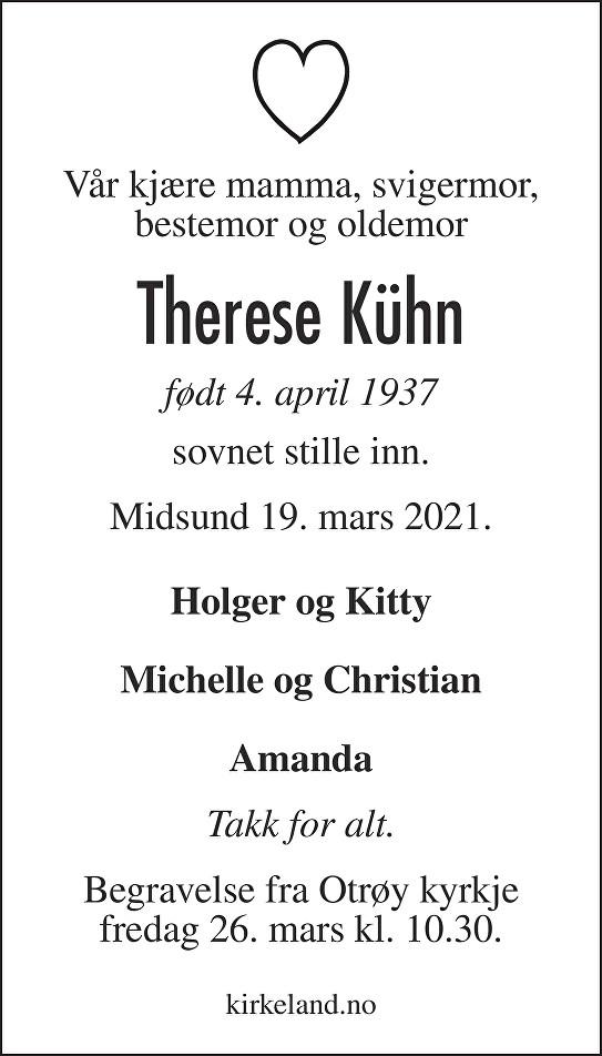 Therese  Kühn Dødsannonse