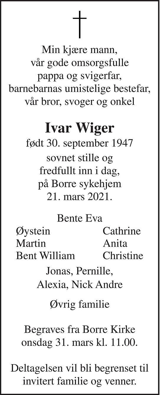 Ivar Wiger Dødsannonse