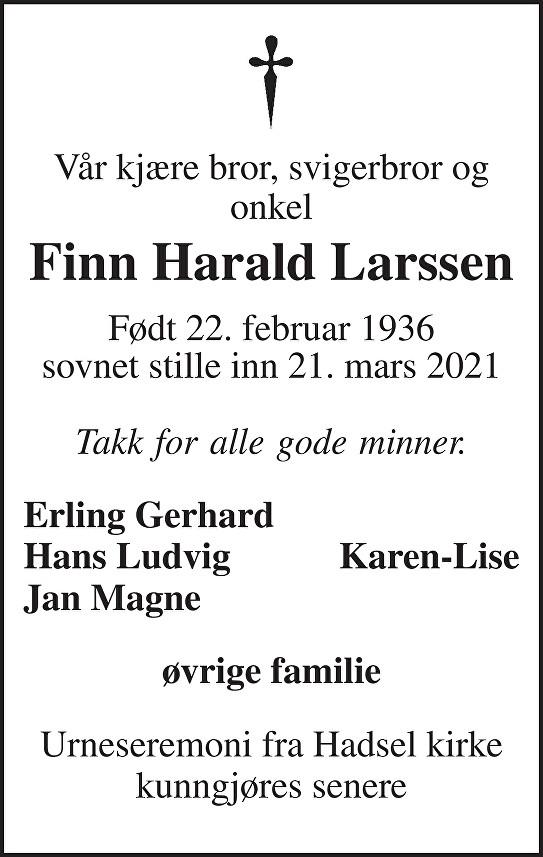 Finn-Harald Larssen Dødsannonse