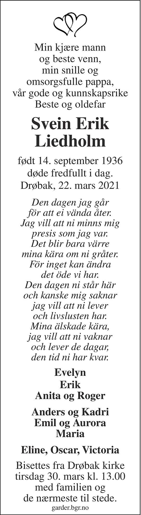 Svein Erik Liedholm Dødsannonse